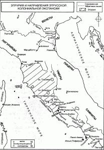 Карта Этрурии и направления этрусской колониальной  экспансии