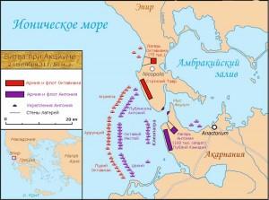 Карта битвы при Акциуме