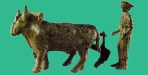 Пахарь, управляющий запряженными в  шуг быками