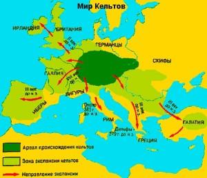 Карта мир Кельтов