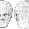 Каменная голова с тремя лицами. Корлек, Каван, Ирландия. Высота 31,5 см