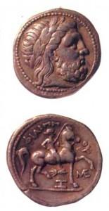 Серебряная тетрадрахма Филиппа 11 Македонскоrо. IV век по н.э.
