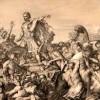 Картина Эдварда Артмиджа, иллюстрирующая первое вторжение Цезаря в Британию.
