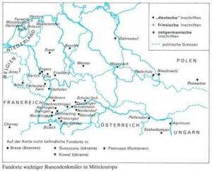 Карта нахождения рунических надписей