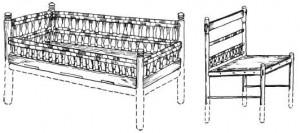 Кровать и кресло из гробницы мальчика под Кёльнским собором