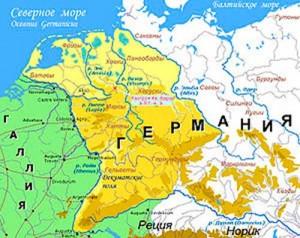 Карта Германии. (Бежевым и жёлтым цветом обозначена территория Германии, которую Римская империя перестала контролировать после битвы в Тевтобургском лесу в 9 году н. э.)