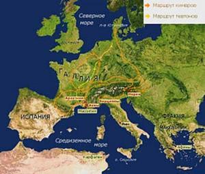 Карта Кимврской войны. Места основных сражений