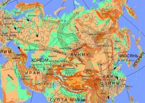 Миграции народов Евразии во II-V вв. н.э. Условные обозначения