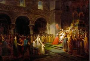 Франсуа Дюбуа - Помазание на царство Пипина Короткого в аббатстве Сен-Дени