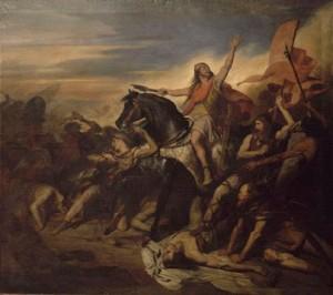 «Битва при Толбиаке в 496 году», кисти Ари Шеффера (1795—1858).