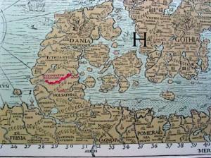 Даневирке (отмечен красным) на Carta Marina, карте XVI века