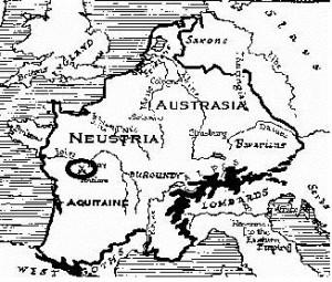 Карта провинций франков в начале-середине VIII века. Кружком выделено место битвы при Пуатье.