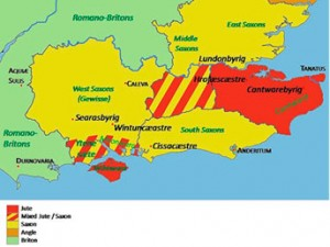Земли ютов в Британии к 575 году.
