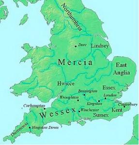 Карта Англии во время правления Эгберта