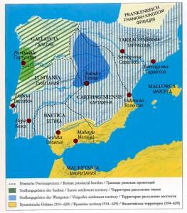 Королевство Вестготов Политическаяя карта юго-западной Европы около 600 года. Три области государства вестготов после потери Аквитании: Римская Испания, Галлеция и Септимания