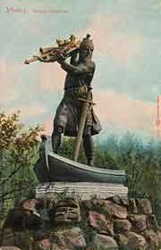 Хаген бросает золото в Рейн. Статуя в Вормсе