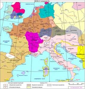 Франкская Бургундия занимала территорию расселения древнегерманского племени бургундов, покорённых в 534 г. сыновьями Хлодвига I