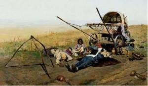 Иванов С.  В.  «Смерть переселенца в пути» (1889, Третьяковская галерея)