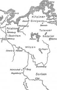 Немецкая карта западных славян X- XII века