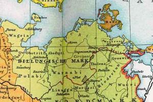 Марка Биллунгов около 1000 г., обведена красным