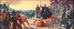 Епископ Абсалон уничтожает идол бога Святовита в Арконе в 1169 году.
