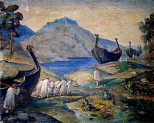 «Волокут волоком». Н. К. Рерих, 1915