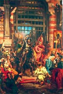 Болеслав Храбрый и его зять Святополк у Золотых ворот Киева (картина Яна Матейко).