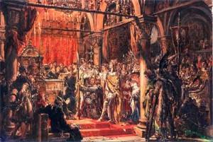 Коронация Болеслава I в Гнезно.  Картина Яна Матейко.  В руках у князя копьё святого Маврикия