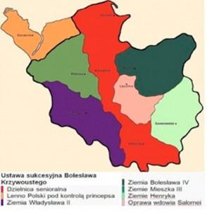 Раздел польского государства по «Cтатусу Болеслава Кривоустова»