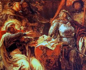 Картина Матейко, изображающая переговоры Владислава Локетека  с Немецким орденом в Бресте-Куявском.