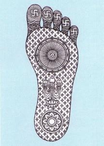 Священный рисунок Стопы Будды. Свастика — один из шестидесяти пяти знаков Будды, обнаруженных в отпечатке его стопы.