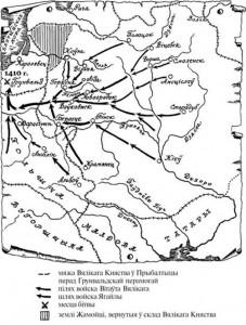 Карта формирования славяно-литовского войска в 1410 г.