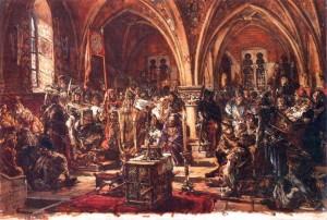 1385 г. Ягайло, великий князь литовский, заключает Кревскую унию с Польшей .